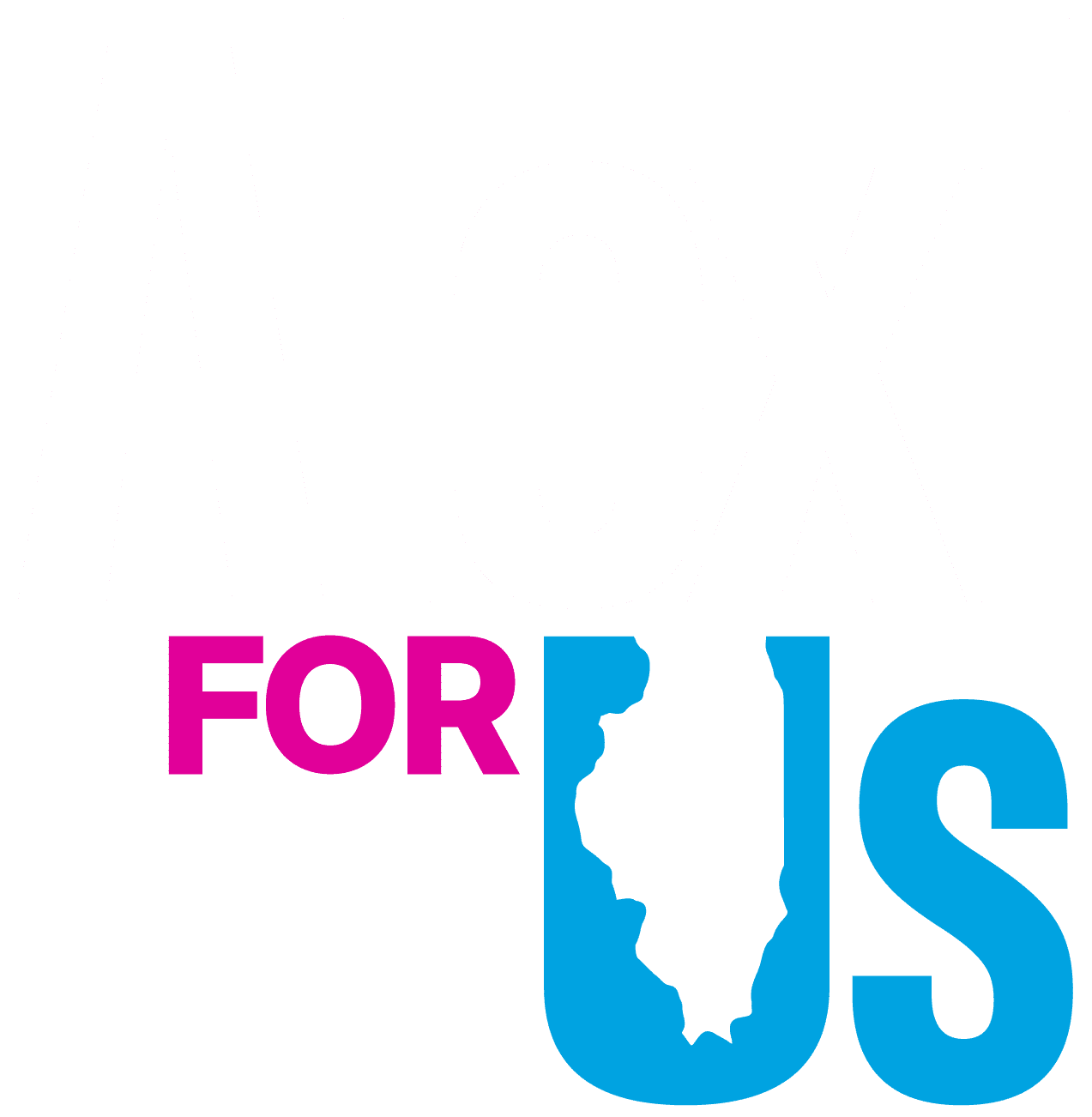 Alexi for Us Logo with white, pink and blue combination.