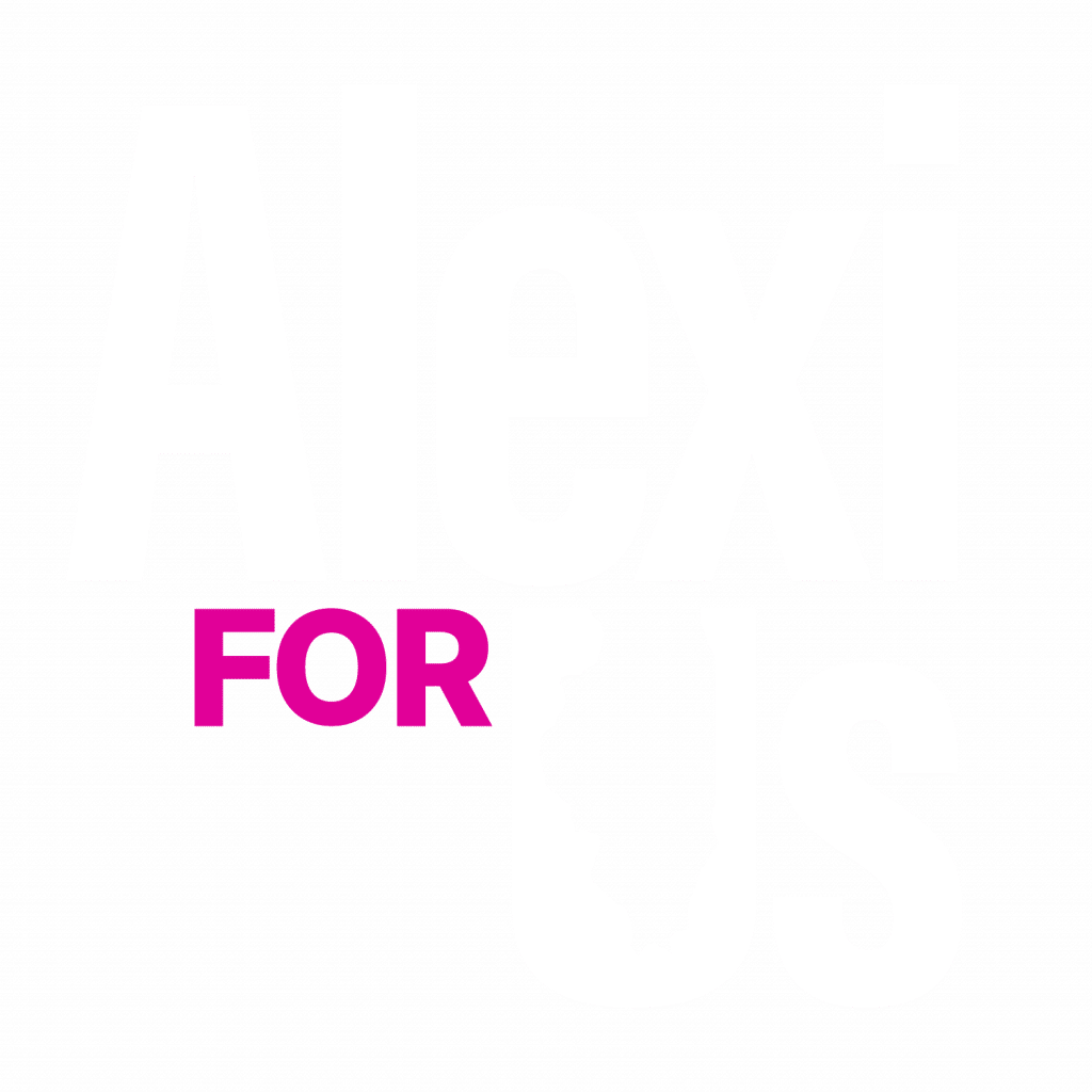 Alexi for Us Logo with white and pink combination.